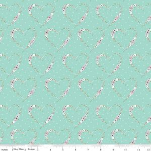 Riley Blake - Vintage Keepsakes - Hearts in Aqua, per fat quarter