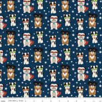 <!--5461-->Riley Blake - Novelty Of The Month  - Super Dogs on Navy, per fat quarter