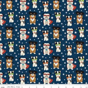 Riley Blake - Novelty Of The Month  - Super Dogs on Navy, per fat quarter