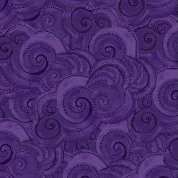 <!--4911-->Clothworks - Sea Goddess - Waves in Purple, per fat quarter