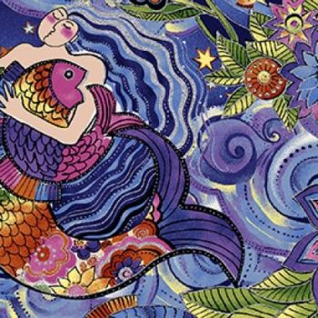 Clothworks - Sea Goddess in Dark Blue/Purple (with silver metallic detailing), per fat quarter