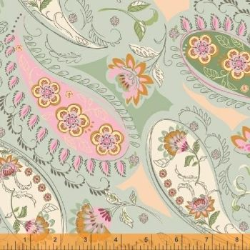 Windham Fabrics - Blythe - Paisley on Light Pistachio Green, per fat quarter