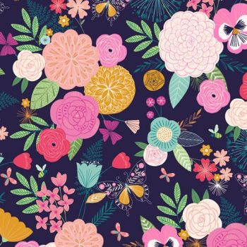 Dashwood Studios - Summer Dance - Multi Flowers on Dark Blue, per fat quarter