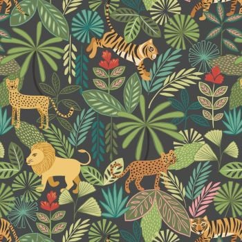 Lewis & Irene - Panthera on Black, per fat quarter