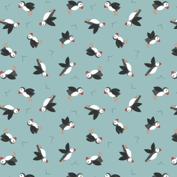 Lewis & Irene - Small Things by the Sea - Puffins on Blue, per fat quarter