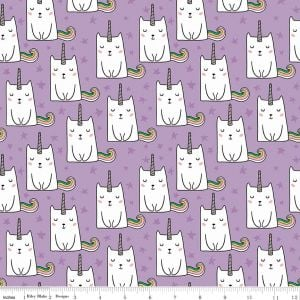 Riley Blake - Novelty of the Month - Caticorn on Lilac, per fat quarter