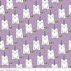 <!--5485-->Riley Blake - Novelty of the Month - Caticorn on Lilac, per fat