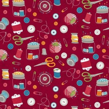 Studio E - Crafty Studio - Sewing Essentials on Red, per fat quarter