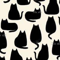 <!--3320-->Makower UK - Home by Sarah Golden - Cats in Black, per fat quarter