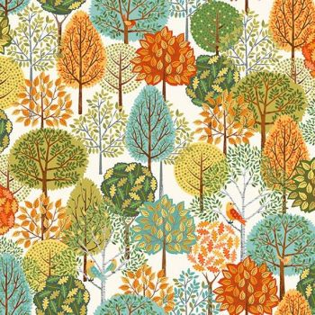 Makower UK - Forest - Trees on Cream, per fat quarter