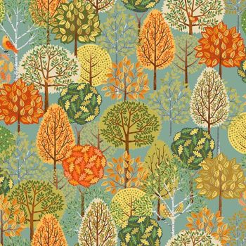 Makower UK - Forest - Trees on Turquoise, per fat quarter