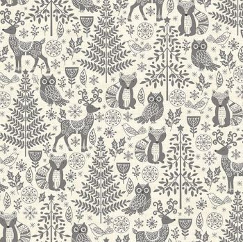 Makower UK - Scandi 2019 - Forest Animals in Grey, per fat quarter