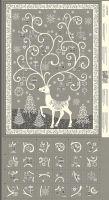 <!--9005-->Makower UK - Scandi 2019 - Reindeer Advent Panel in Grey, per panel