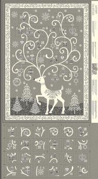 Makower UK - Scandi 2019 - Reindeer Advent Panel in Grey, per panel