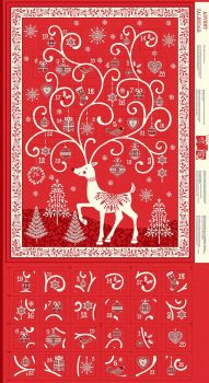 Makower UK - Scandi 2019 - Reindeer Advent Panel in Red, per panel