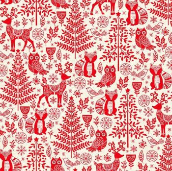 Makower UK - Scandi 2019 - Forest Animals in Red, per fat quarter