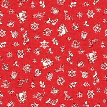 Makower UK - Scandi 2019 - Scatter in Red, per fat quarter