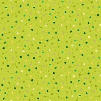 Makower UK - Festive - Shooting Stars on Green, per fat quarter