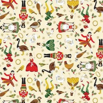 Makower UK - Twelve Days - Icons on Cream (with gold metallic detailing), per fat quarter