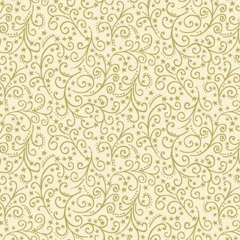 Makower UK - Twelve Days -Metallic Scroll on Cream (with gold metallic detailing), per fat quarter