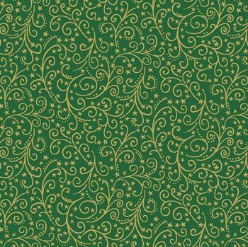 Makower UK - Twelve Days -Metallic Scroll on Green (with gold metallic detailing), per fat quarter