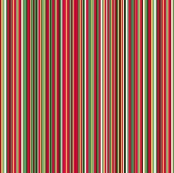 Makower UK - Twelve Days - Multi Stripe (with gold metallic detailing), per fat quarter