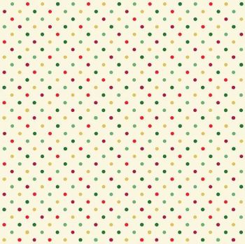 Makower UK - Twelve Days - Multi Dot (with gold metallic detailing), per fat quarter