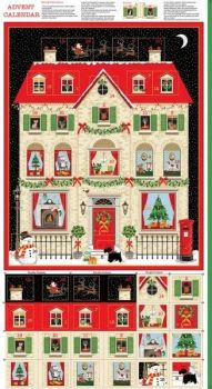 Makower UK - Deck The Halls - House Advent Panel (with gold metallic detailing), per panel
