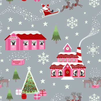 Lewis & Irene - Christmas Glow – North Pole in Pink/Grey (with glow in the dark detailing), per fat quarter