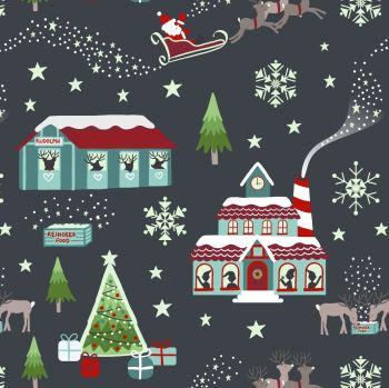 Lewis & Irene - Christmas Glow – North Pole in Night Time Grey (with glow in the dark detailing), per fat quarter