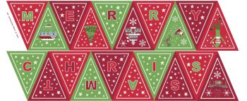 Lewis & Irene = Christmas Glow - Bunting Panel in Green/Red (with glow in the dark detailing), per panel