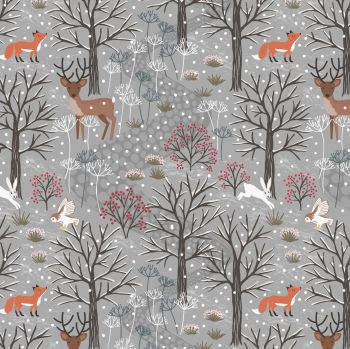 Lewis & Irene - Winter in Bluebell Wood – Winter Woods on Grey, per fat quarter