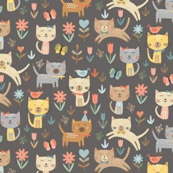 Makower UK - Cool Cats - Jumpin on Grey, per fat quarter