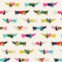 <!--9089-->Dashwood - Merry - Sausage Dogs, per fat quarter