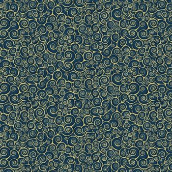 Makower UK - Rhapsody Scroll on  Indigo (B9) (with gold metallic detailing), per fat quarter