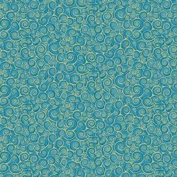 Makower UK - Rhapsody Scroll on  Sky (B4) (with gold metallic detailing), per fat quarter