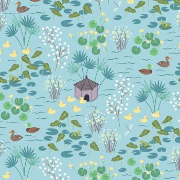 Lewis & Irene - The Village Pond - Duck Pond on Light Blue, per fat quarter
