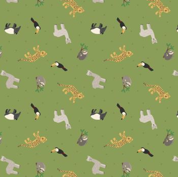 Lewis & Irene - Small Things ... World Animals -  South American Animals on Rainforest Green, per fat quarter