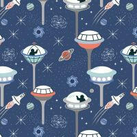 <!--4351-->Lewis & Irene - Light Years - Dark Blue Space City (with glow in the dark detailing), per fat quarter