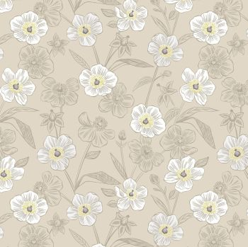 Lewis & Irene - Botanic Garden - Rambling Floral on Dark Cream, per fat quarter