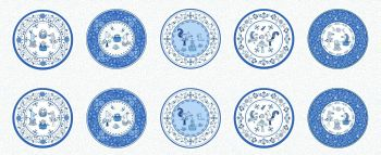 Lewis & Irene - Tea Time - Tea Time Little Plates Panel, per panel