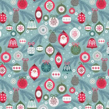 Lewis & Irene - Christmas Trees - Baubles on Ice, per fat quarter