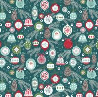 <!--9056-->Lewis & Irene - Christmas Trees - Baubles on Winter Blue, per fat quarter