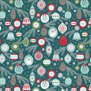 Lewis & Irene - Christmas Trees - Baubles on Winter Blue, per fat quarter