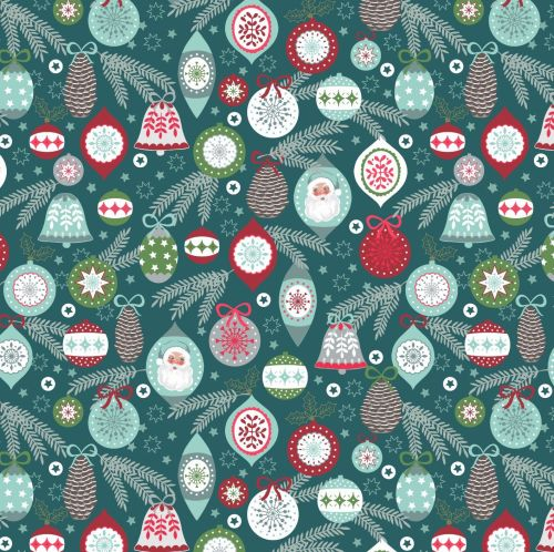 <!--9045-->Lewis & Irene - Christmas Trees - Baubles on Winter Blue, per fa