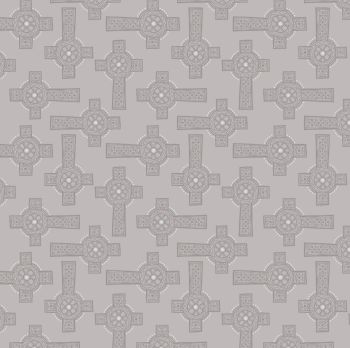 Lewis & Irene - Iona - Grey Celtic Cross (with silver metallic detailing), per fat quarter