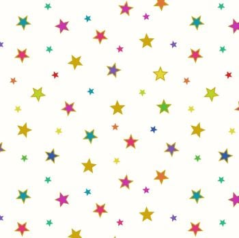 Lewis & Irene - Rainbows - Bright Stars (with gold metallic detailing), per fat quarter
