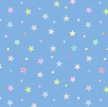 Lewis & Irene - Rainbows - Pastel Stars (with silver metallic detailing), per fat quarter