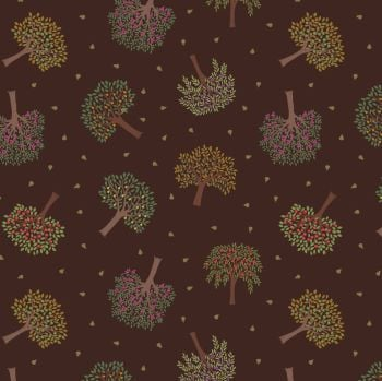 Lewis & Irene - Trees on Dark Brown, per fat quarter
