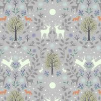 <!--4404-->Lewis & Irene - Mirrored Woodland on Grey (with glow in the dark detailing, per fat quarter